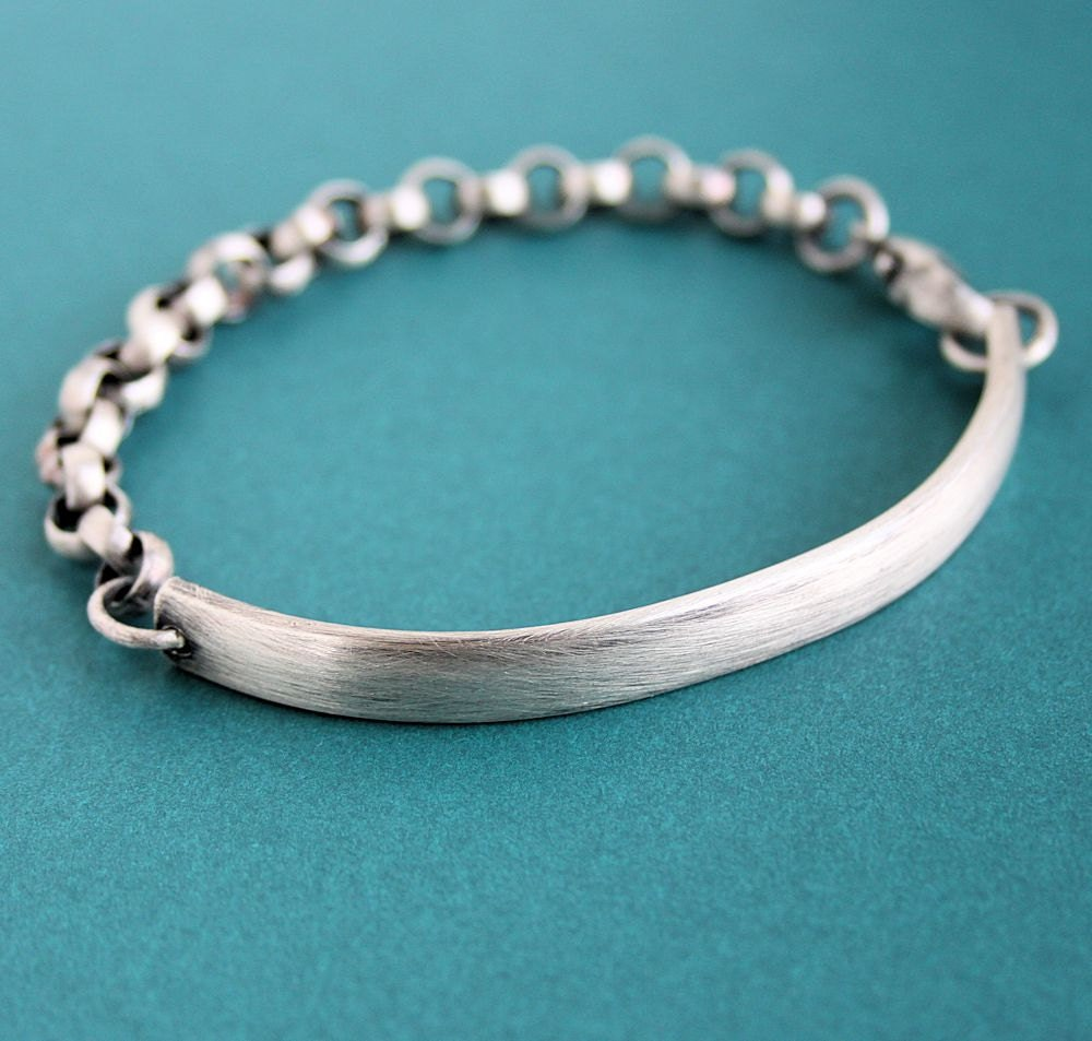 Men S Sterling Bracelet Chunky Silver Chain And Bar