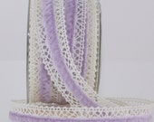 "Lavender Crochet Velvet Ribbon, Lavender Ribbon, 1"" wide by the yard, Lavender Velvet Ribbon, Lavender Lace Trim, Weddings, Baby, Sewing"