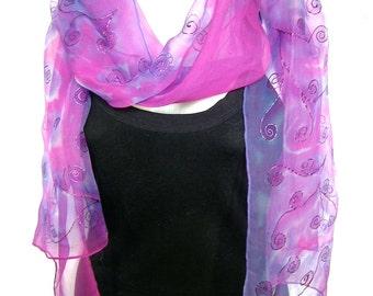Hand Painted Silk Scarf, Lavender Pink, Abstract Swirls Design, Silk Chiffon Scarf, Gift Under 50