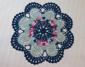 Navy Blue Doily-10 inch Doily-Light Turquoise,Pinks,Aqua Pineapple Doily-Hand Crocheted Doily-Cindy's Loft