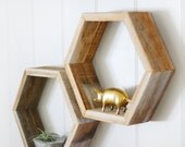 Reclaimed Wood Hexagon Shelf | Standard Size (Sold Individually)  ||  As Seen Featured in the Nursery for Cara Loren's Son Arrow!