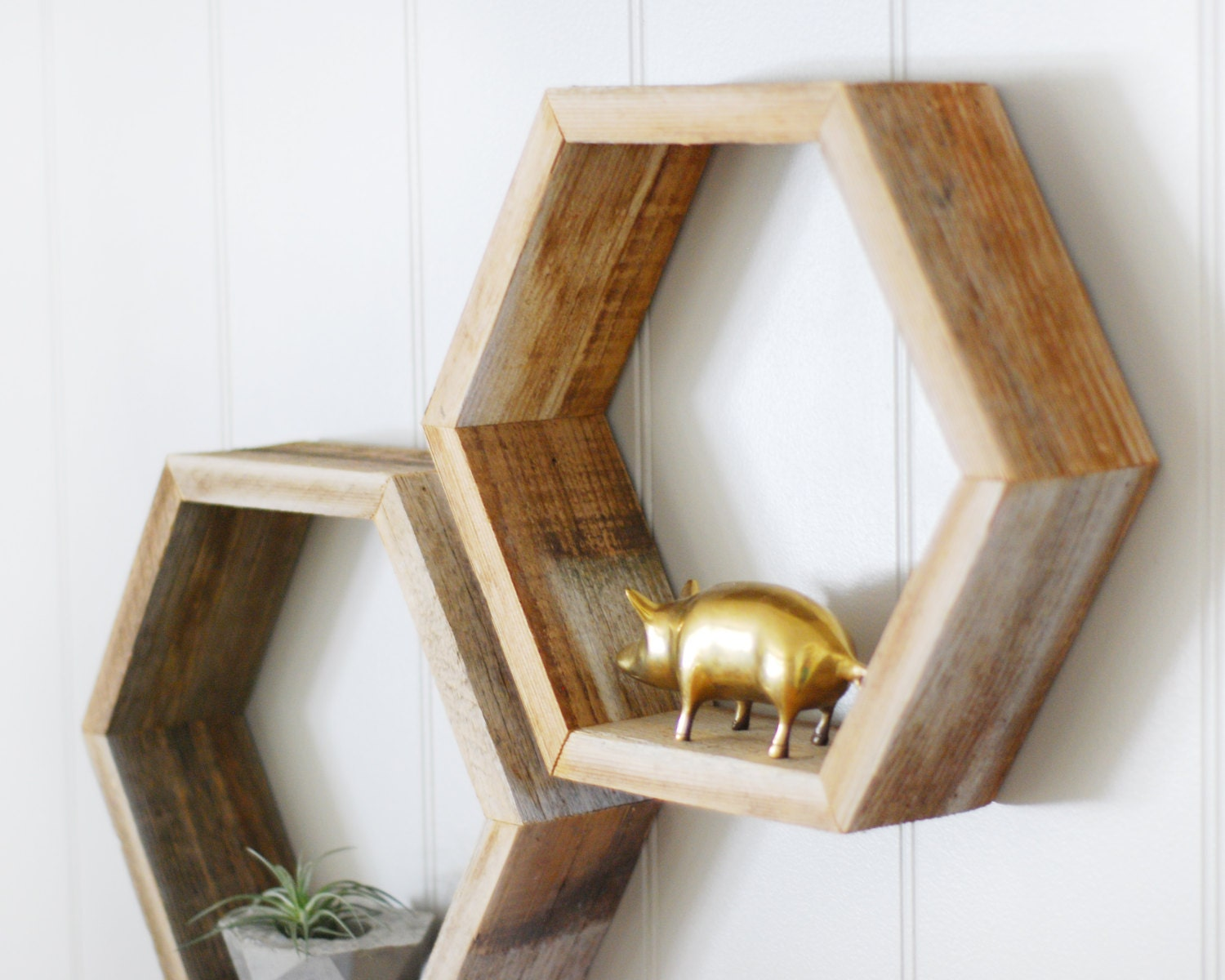 Amazing photo of Reclaimed Wood Hexagon Shelf Standard Size Sold by ElmAvenueShop with #A1842A color and 1500x1200 pixels