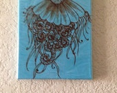 Jellyfish Acrylic Painting Henna Art, Mixed Media Painting Henna on Acrylic, Global Art, Unique, OOAK, Global Art