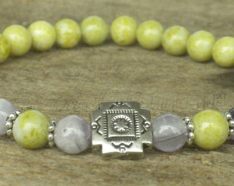 Peridot Jasper and Amethyst Cross Bracelet; Healing, Energy, Yoga, Meditation, Protection, Mala, Intention