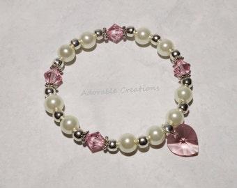 White Pearl & Pink Swarovski Crystal Heart Bracelet