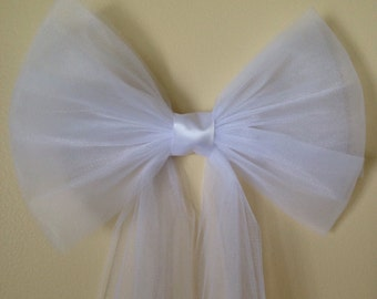 6 White or Ivory tulle/satin pew bows