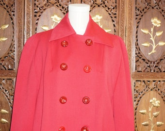 1940s Cherry Red Wool Gabardine Topper Sz M