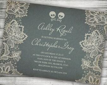 Sample Skull and Cross Bones Halloween Wedding Invitation - Marriage Invitations