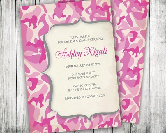 Army Wedding Invitations: Pink Camouflage Invitation Camo Invite Custom By VGInvites