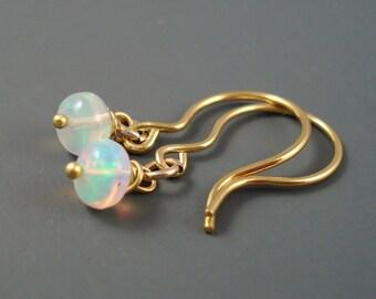 Opal Earrings, Ethiopian Fire Opal on Gold Filled Shepard Hook Wires