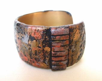 Cuff Bracelet Contemporary Design in Clay on Genuine Brass Base Distressed Metal Finish Industrial Grunge Unique Accessory Great Gift
