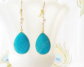 Turquoise Gold Earrings Pearls Bridal Wedding Summer Jewelry by MinouBazaar