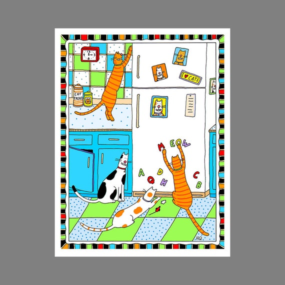 Cat Refrigerator Magnets Cat Card in the Kitchen Greeting Card Cats on the Kitchen Counter