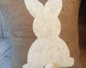 Burlap bunny pillow, Easter pillow, burlap pillow, easter bunny, easter decor, bunny pillow, easter decorations, spring decor, accent pillow
