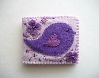 Needle Book Purple Felt Needle Keeper with Folk Art Bird and Hand Embroidered Felt Flowers Handsewn
