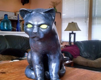 Cat with lighted eyes
