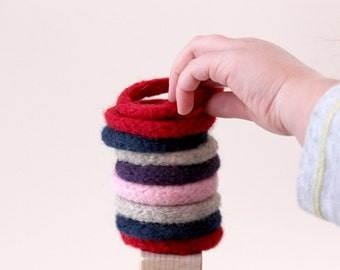 6 Knit Wool Toy Bracelets, Set of 6, Creative Play Toys, Safe Kids Bracelets, Preschool Jewelry, Waldorf Toy, Easter Gift, Custom Colors