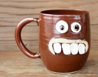 Large 20 ounce Geeky Coffee Cup for Him. Funny Unique Face Mugs. Rustic Brick Red. Ceramic Stoneware Pottery Mug.