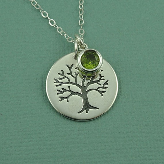 Birthstone Tree Necklace - sterling silver necklace - tree necklace - tree jewelry - tree pendant - birthstone jewelry