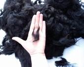 Black Alpaca washed fiber 5.3 oz  natural color for spinning and felt, on sale