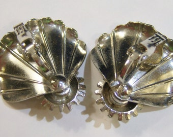 vintage silver tone fanned out sort of flower clip on earrings 415A