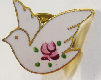 vintage white bird with pink rose tie tack brooch pin tietack 14IN