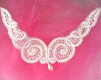 """FS228 Crystal AB and White Beaded Collar Applique 6""""   (FS228-CAB)"""