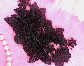 """BL7 Black Venice Lace Flower Applique 4.5""""  (BL7-bk)"""