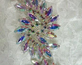 XR120 Aurora Borealis Marquise Swirl Crystal AB Rhinestone Embellishing Trim (XR120-slcab)
