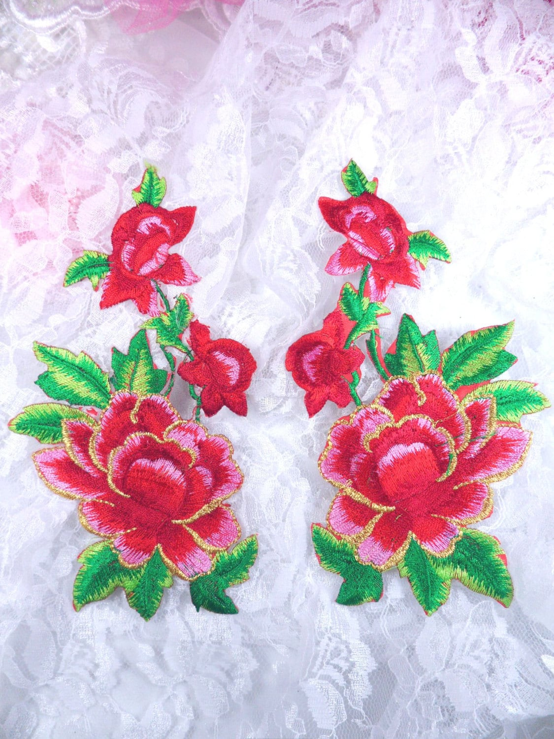 Gb red rose mirror pair embroidered appliques