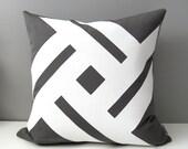 Grey & White Outdoor Pillow Cover, Modern Pinwheel, Decorative Cushion Cover, Patio Decor, Charcoal Sunbrella Throw Pillow Case, Mazizmuse