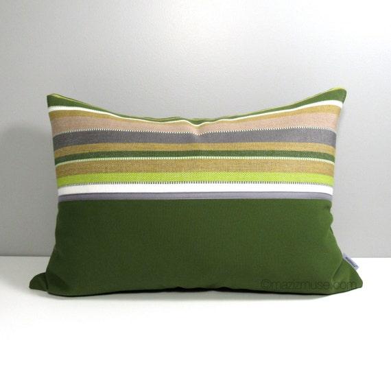 Modern Green Pillow Cover : Modern Outdoor Pillow Cover Olive Green Grey Pillow Cover