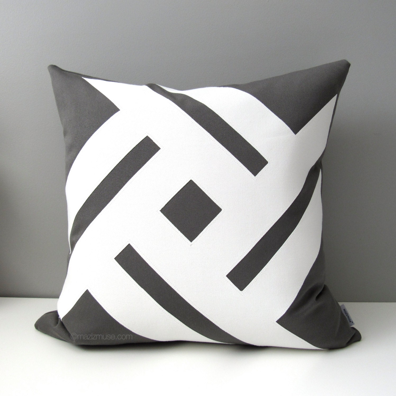 Modern Decorative Pillow Covers : Decorative Grey & White Outdoor Pillow Cover Modern Sunbrella