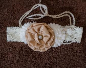 Brides Champagne Floral Head Peice Wedding Wear