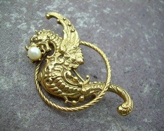 Unique Vintage Gold tone Dragon with Wings And Pearl in mouth brooch