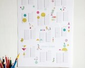 Perpetual calendar, Birthday Calendar poster size A3 - PDF geometric forms and birds illustration