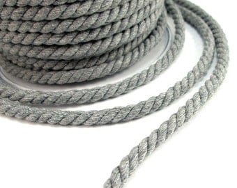 Grey cotton cord, 6 mm twisted cotton cotton rope, medium grey , 2 meters