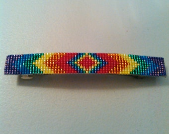 Shiny Rainbow Hand Beaded Barrette
