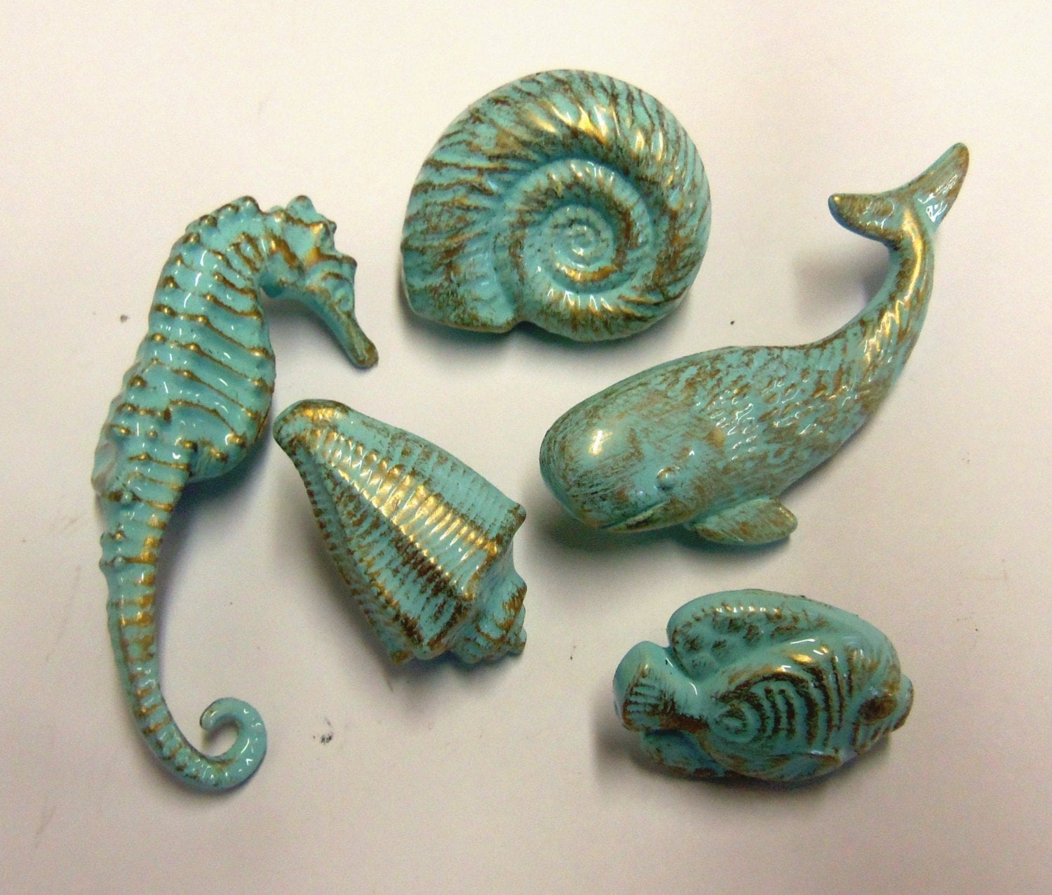drawer pulls knobs seahorse whale fish nautilus conch nautical
