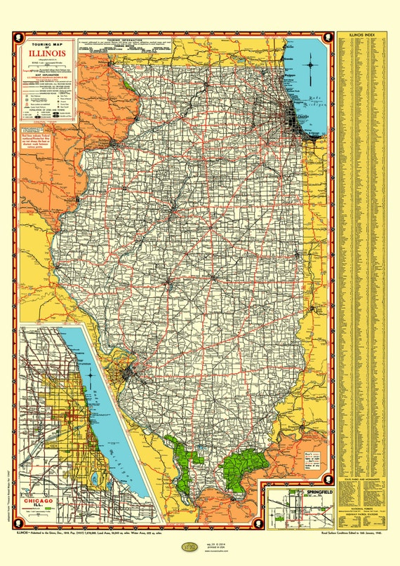 Illinois Road Map Poster Vintage Chicago Inset Lake - Illinois road map