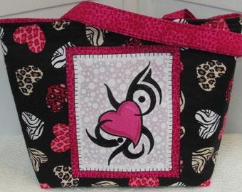 Wild at Heart Large Tote Bag Animal print Tattoo Hearts Purse Ready to Ship