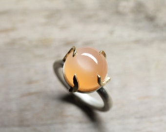 Peach Moonstone 14K Yellow Gold Silver Ring Modern Abstract Large Orange Gemstone Fire Inspired Warm Colors Boho Gift Idea - Sweet Flame