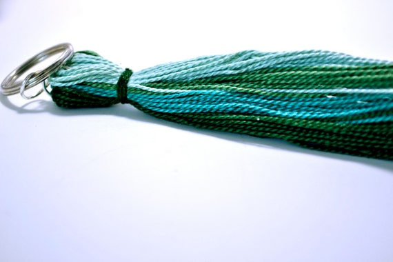 Custom ombre tassel in green (4 inches long with a keychain top)