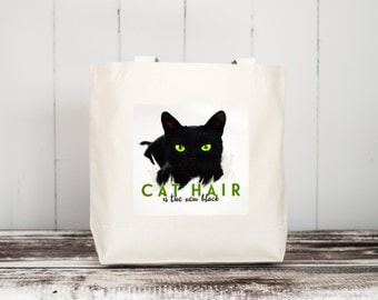 CAT HAIR is the new black --  Black Kitty with Green Eyes - Carryall Tote - School Bag - Canvas Bag