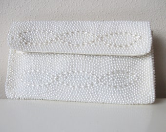 White Japanese Beaded 50s Bridal Clutch
