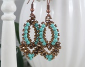 Woven Earrings Turquoise and Copper