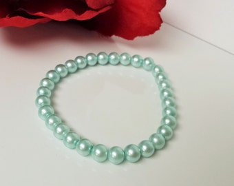 Crystal Blue 6mm Glass Pearl Bracelet for Bridesmaid, Flower Girl or Prom