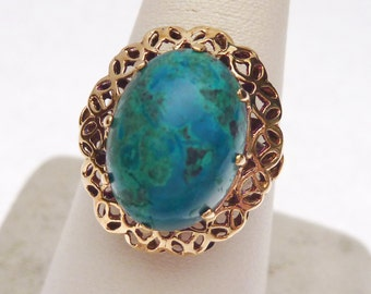 14 kt Turquoise Oval Cabochon Cocktail Ring with Cut Out Halo 1950s