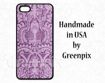 Purple lace iPhone 4 case, lace iPhone 5 case, lace iPhone 5C case, lace Galaxy S5 case, lacy feminine pattern, phone cover