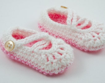 Crochet Pink Baby Newborn Mary Janes Booties Shoes